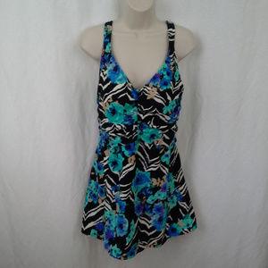 Rose Marie Reid womens swim suit 18 Skirt Zebra